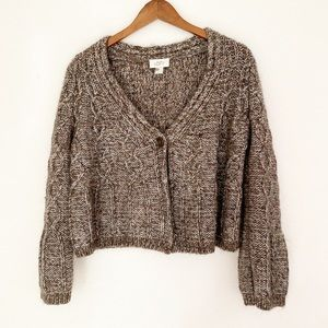 LOFT Knitted Crop Button Front Tinsel Cardigan L